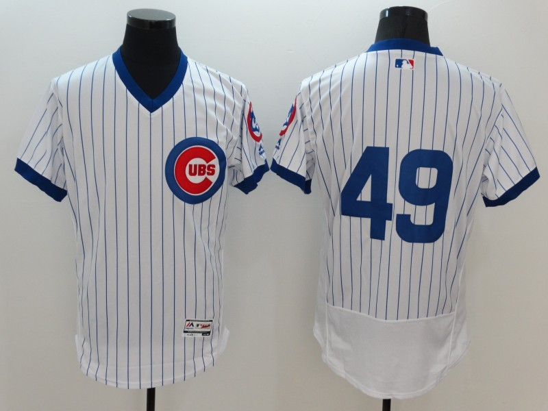 2016 MLB FLEXBASE Chicago Cubs 49 Jake Arrieta White stripes Jerseys