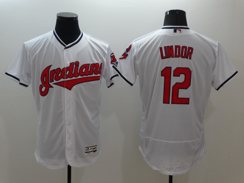 2016 MLB FLEXBASE Cleveland Indians 12 Francisco Lindor White Jerseys