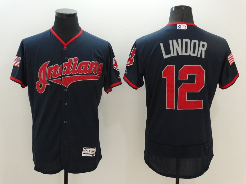2016 MLB FLEXBASE Cleveland Indians 12 Lindor Blue Fashion Jerseys