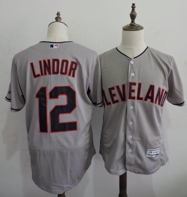 2016 MLB FLEXBASE Cleveland Indians 12 Lindor Grey Elite Jerseys
