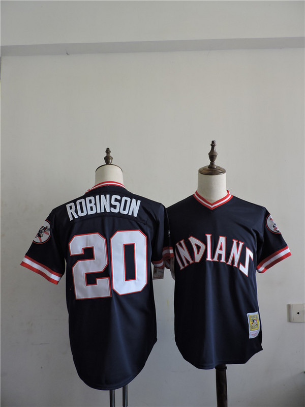2016 MLB FLEXBASE Cleveland Indians 20 Robinson Blue Throwback Jerseys