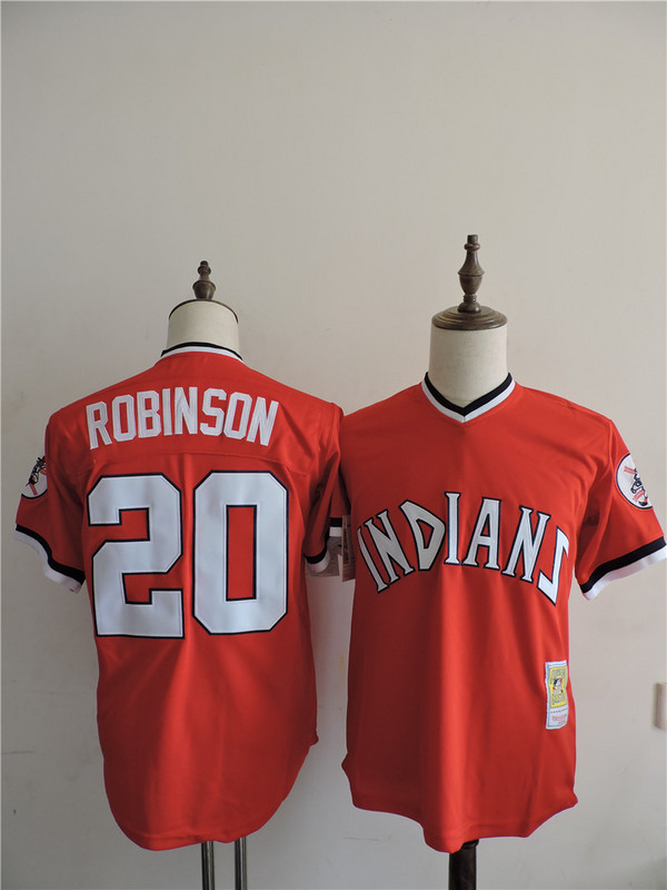 2016 MLB FLEXBASE Cleveland Indians 20 Robinson Red Throwback Jerseys