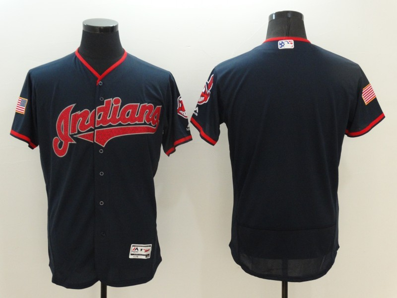 2016 MLB FLEXBASE Cleveland Indians Blank Blue Fashion Jerseys