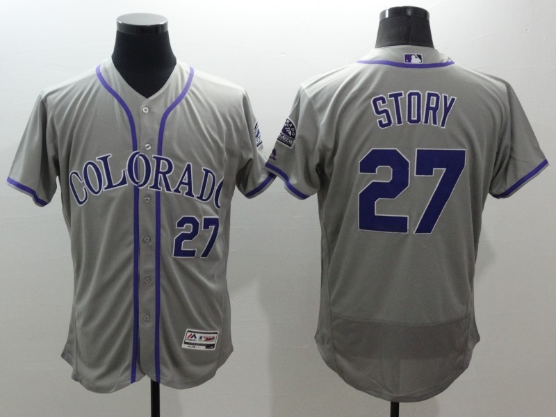 2016 MLB FLEXBASE Colorado Rockies 27 Story grey jerseys