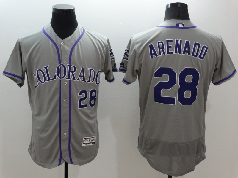 2016 MLB FLEXBASE Colorado Rockies 28 Arenado grey jerseys
