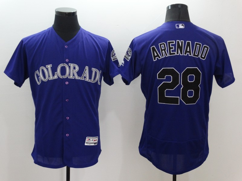 2016 MLB FLEXBASE Colorado Rockies 28 Nolan Arenado Purple Jerseys