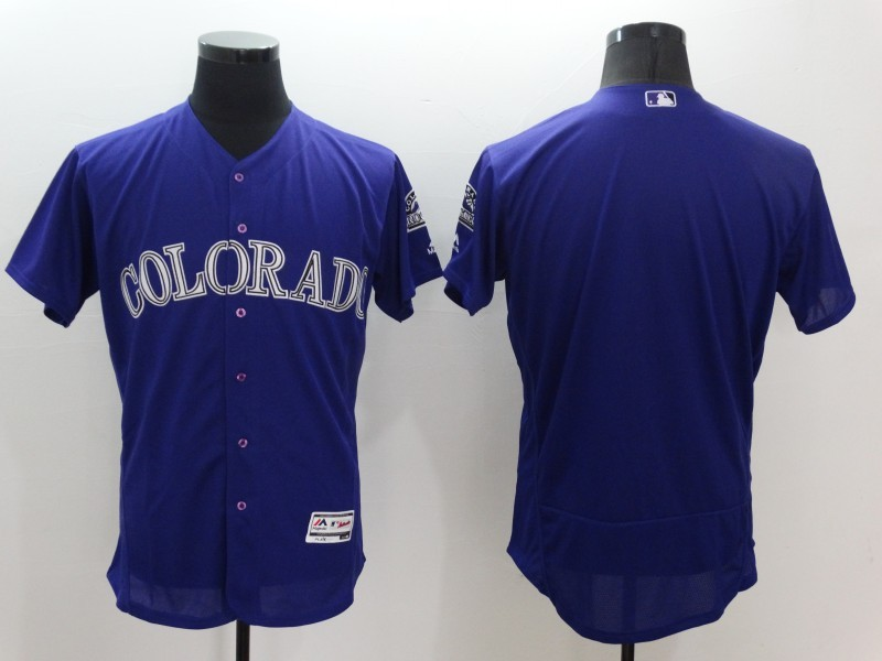 2016 MLB FLEXBASE Colorado Rockies Blank Purple Jerseys