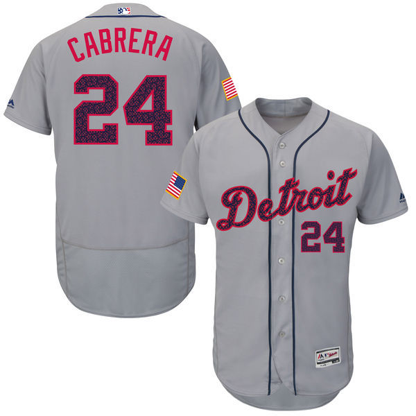 2016 MLB FLEXBASE Detroit Tigers 24 Cabrera Grey Fashion Jerseys