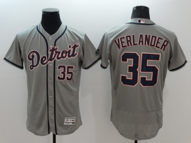 2016 MLB FLEXBASE Detroit Tigers 35 Verlander grey jerseys
