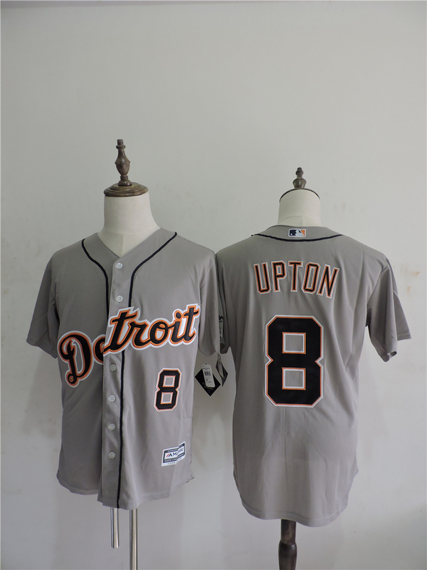 2016 MLB FLEXBASE Detroit Tigers 8 Upton Grey Jerseys
