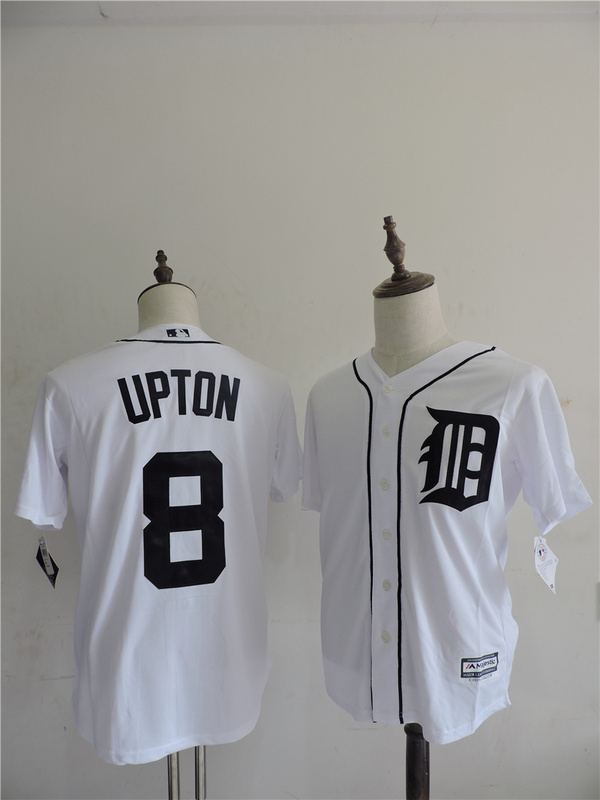 2016 MLB FLEXBASE Detroit Tigers 8 Upton White Jerseys
