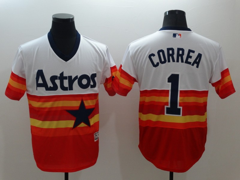 2016 MLB FLEXBASE Houston Astros 1 Carlos Correa White Orange Jerseys