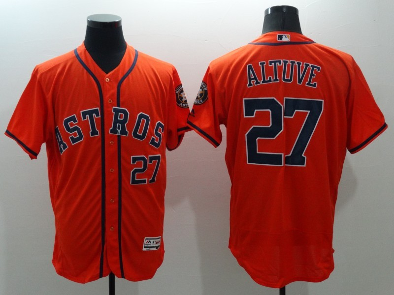 2016 MLB FLEXBASE Houston Astros 27 Jose Altuve Orange Jerseys
