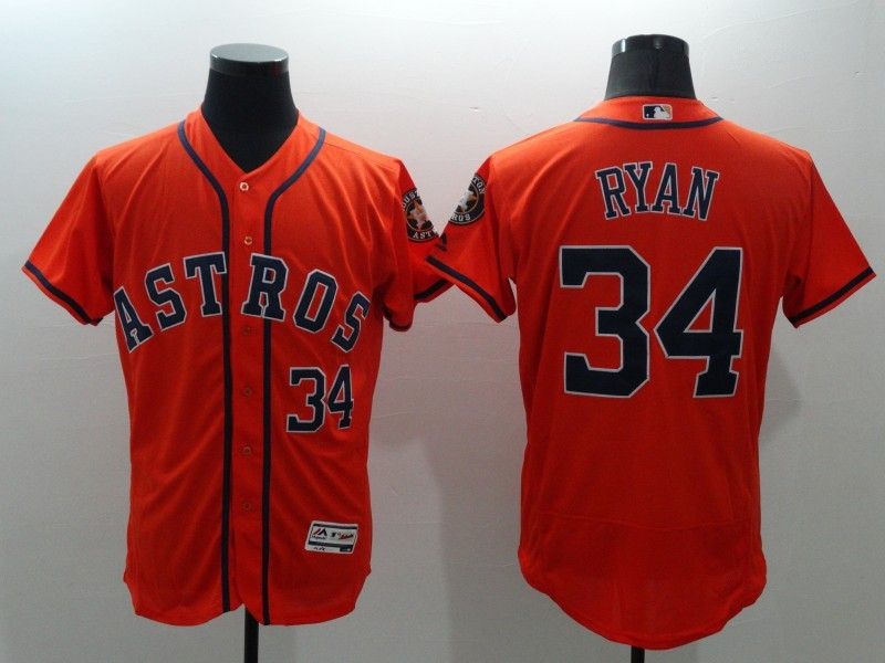 2016 MLB FLEXBASE Houston Astros 34 Nolan Ryan Orange Jerseys