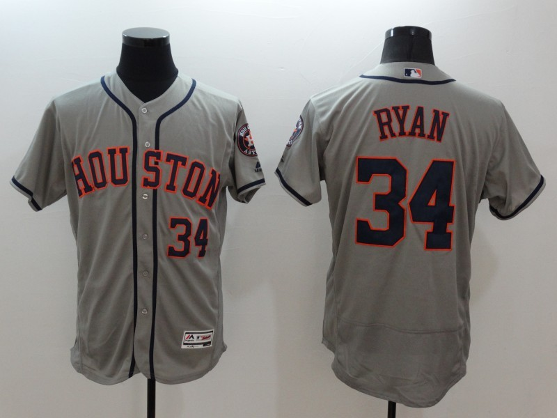 2016 MLB FLEXBASE Houston Astros 34 Nolan Ryan grey jerseys