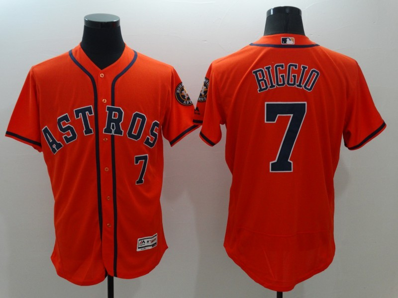 2016 MLB FLEXBASE Houston Astros 7 Craig Biggio Orange Jerseys