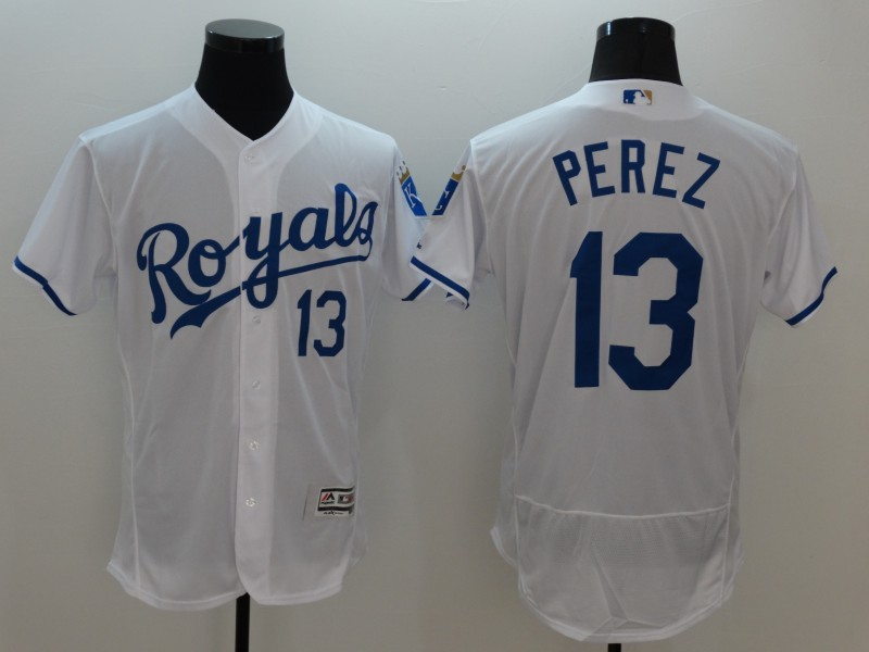 2016 MLB FLEXBASE Kansas City Royals 13 Perez White Jersey