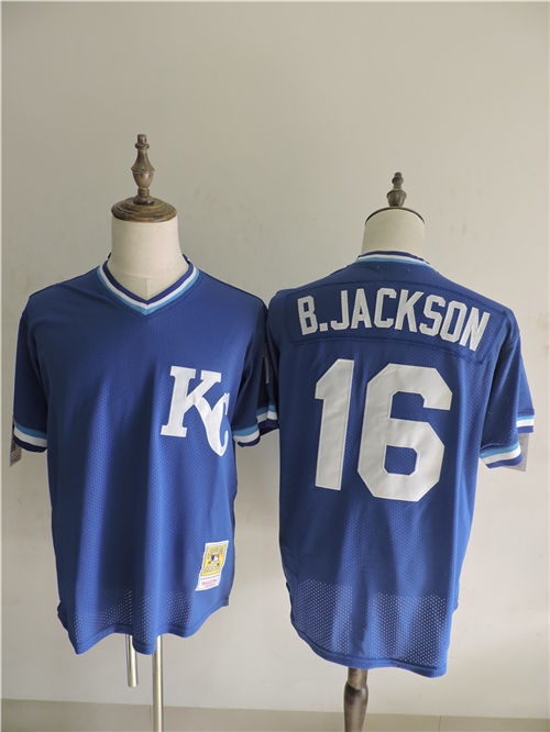 2016 MLB FLEXBASE Kansas City Royals 16 B.Jackson Blue Throwback Elite Jerseys