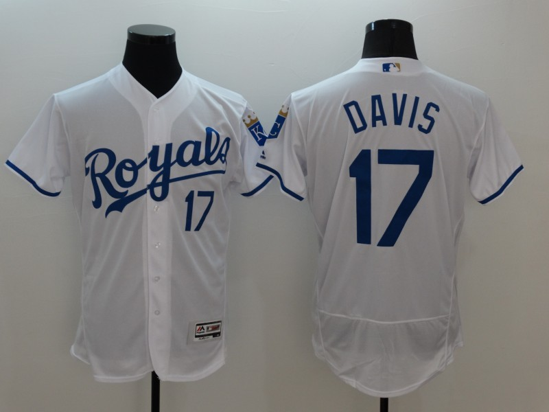 2016 MLB FLEXBASE Kansas City Royals 17 Davis White Jersey