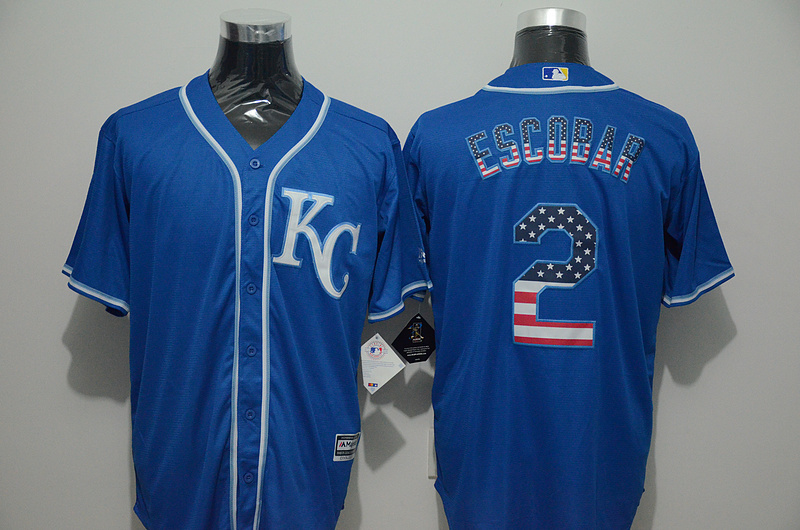 2016 MLB FLEXBASE Kansas City Royals 2 Escobar blue jersey