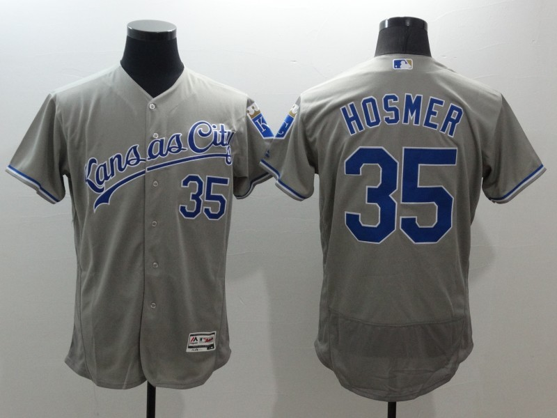 2016 MLB FLEXBASE Kansas City Royals 35 Eric Hosmer Grey Jerseys
