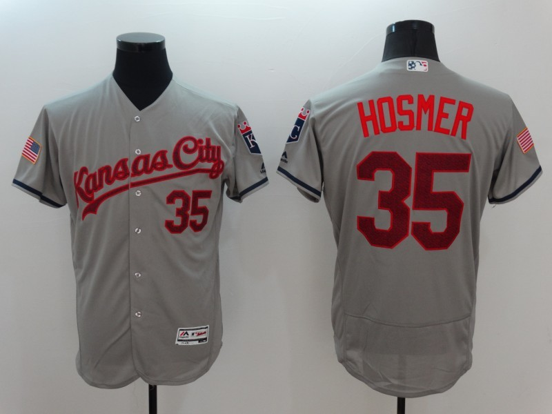 2016 MLB FLEXBASE Kansas City Royals 35 Hosmer Grey Fashion Jerseys