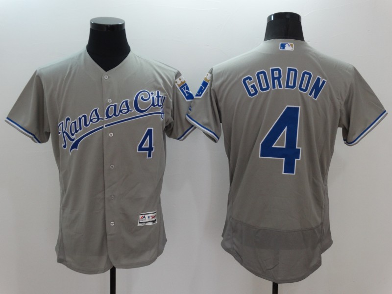 2016 MLB FLEXBASE Kansas City Royals 4 Alex Gordon Grey Jerseys