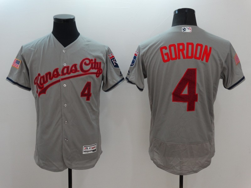 2016 MLB FLEXBASE Kansas City Royals 4 Gordon Grey Fashion Jerseys