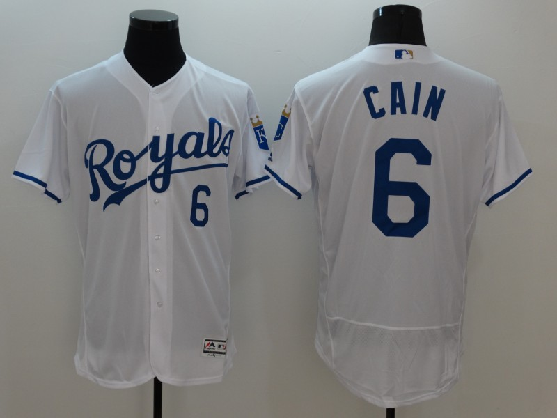 2016 MLB FLEXBASE Kansas City Royals 6 Cain White Jersey