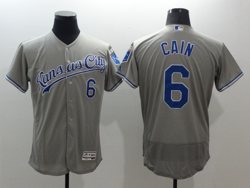 2016 MLB FLEXBASE Kansas City Royals 6 Lorenzo Cain Grey Jerseys