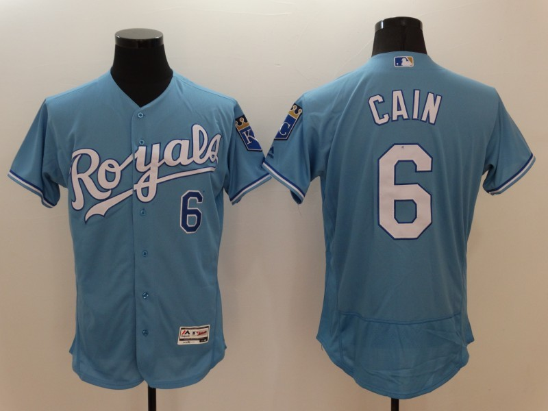 2016 MLB FLEXBASE Kansas City Royals 6 Lorenzo Cain Light blue Jerseys
