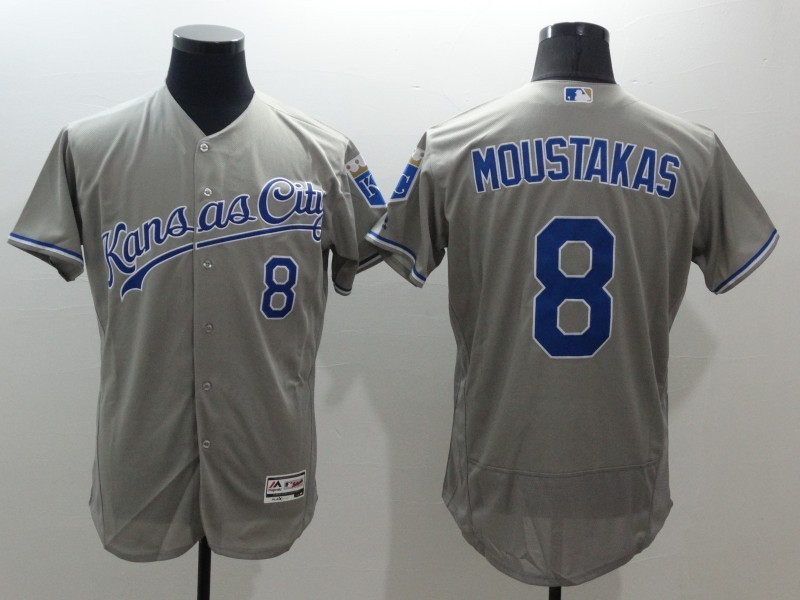 2016 MLB FLEXBASE Kansas City Royals 8 Mike Moustakas Grey Jerseys