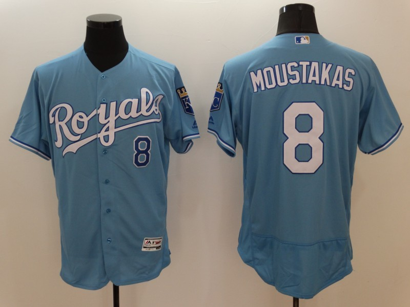 2016 MLB FLEXBASE Kansas City Royals 8 Mike Moustakas Light blue Jerseys