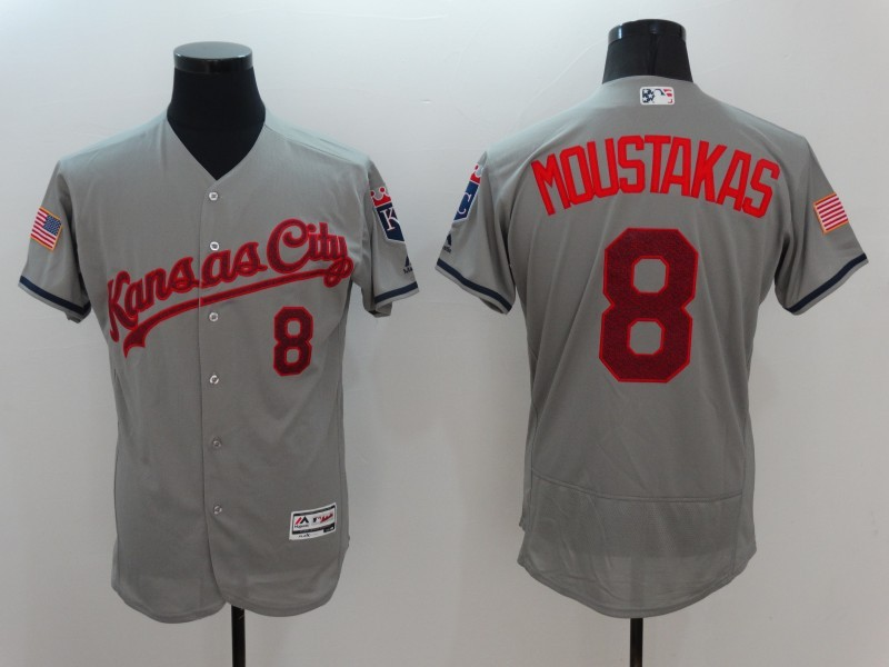 2016 MLB FLEXBASE Kansas City Royals 8 Moustakas Grey Fashion Jerseys