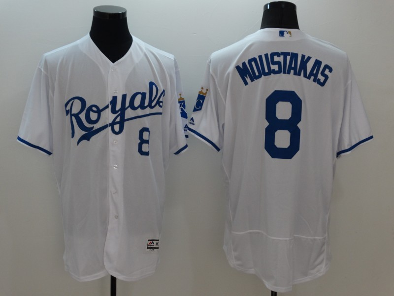 2016 MLB FLEXBASE Kansas City Royals 8 Moustakas White Jersey