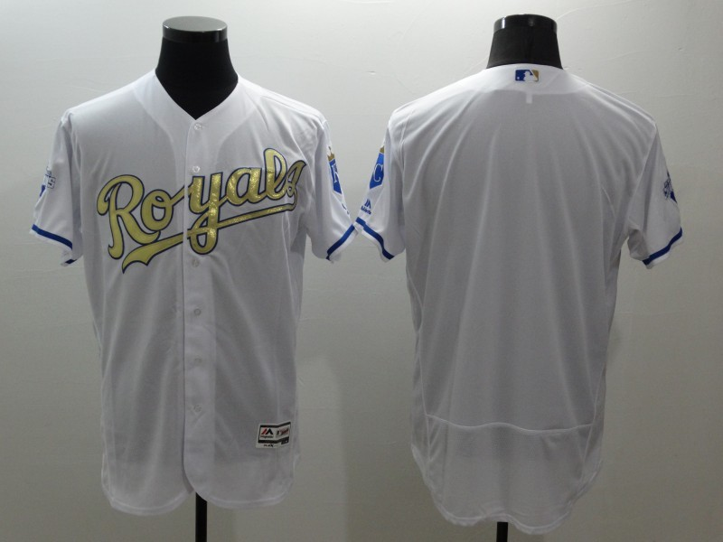 2016 MLB FLEXBASE Kansas City Royals blank white jerseys