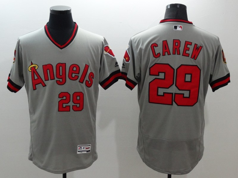 2016 MLB FLEXBASE Los Angeles Angels 29 Carew grey jerseys