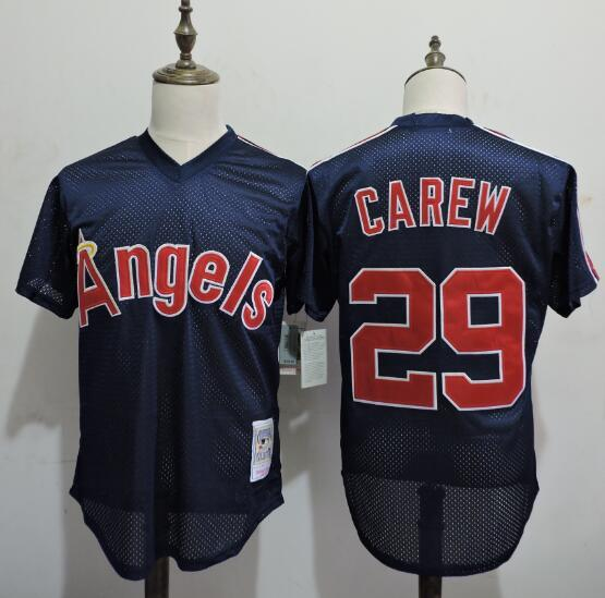 2016 MLB FLEXBASE Los Angeles Angels 29 Rod Carew Blue Throwback Elite Jerseys