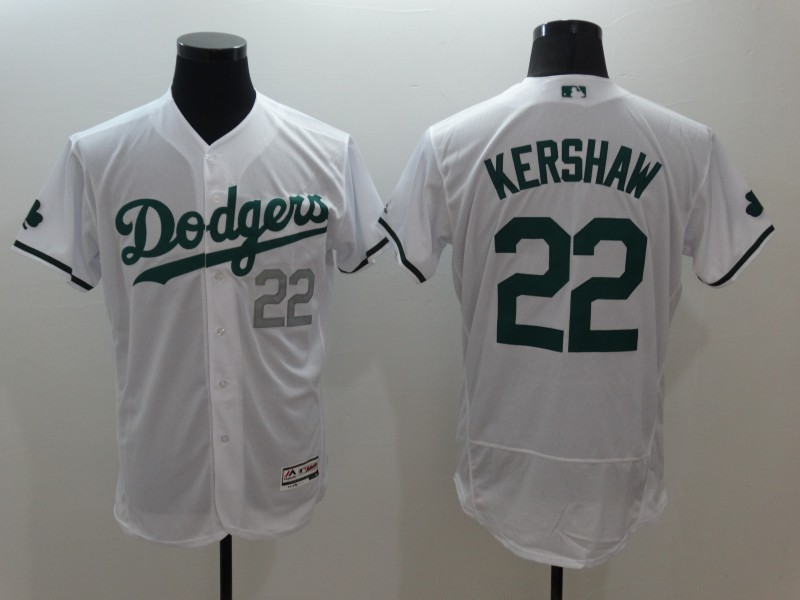 2016 MLB FLEXBASE Los Angeles Dodgers 22 Clayton Kershaw White Green Jerseys