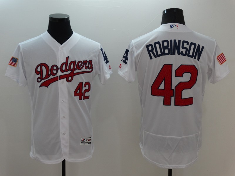 2016 MLB FLEXBASE Los Angeles Dodgers 42 Robinson White Fashion Jerseys