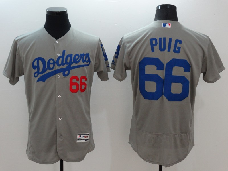 2016 MLB FLEXBASE Los Angeles Dodgers 66 Puig grey jerseys