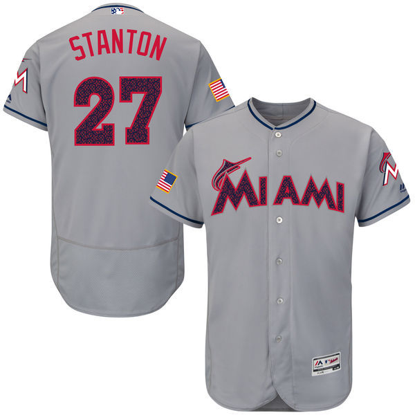 2016 MLB FLEXBASE Miami Marlins 27 Stanton Grey Fashion Jerseys