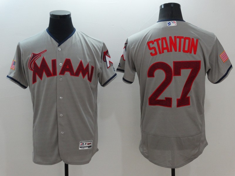2016 MLB FLEXBASE Miami Marlins 27 Stanton Grey1 Fashion Jerseys