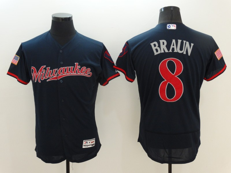2016 MLB FLEXBASE Milwaukee Brewers 8 Braun Blue Fashion Jerseys