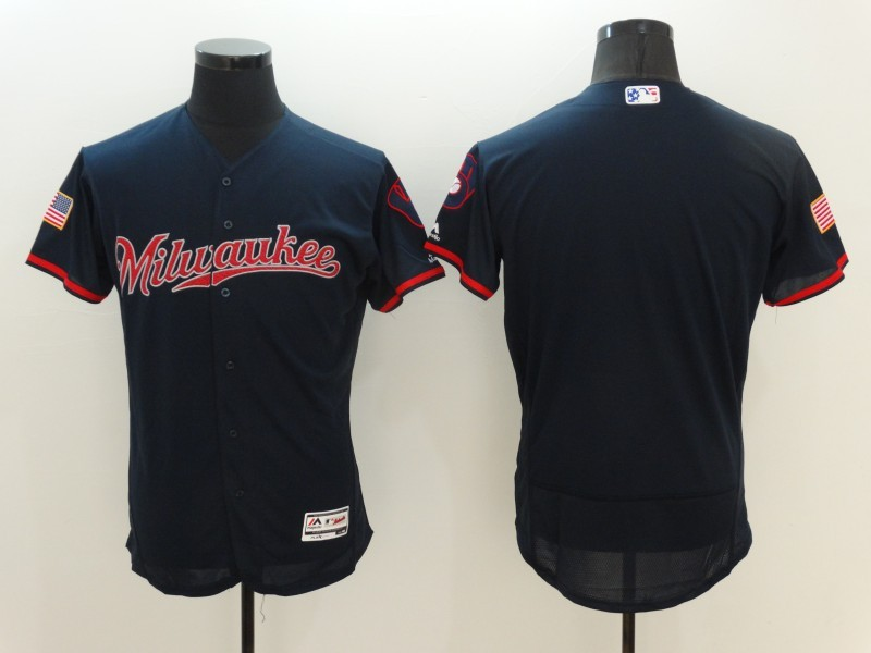 2016 MLB FLEXBASE Milwaukee Brewers Blank Blue Fashion Jerseys