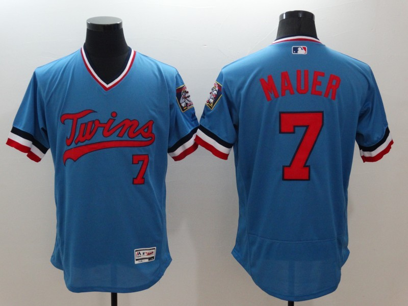 2016 MLB FLEXBASE Minnesota Twins 7 Mauer blue jerseys