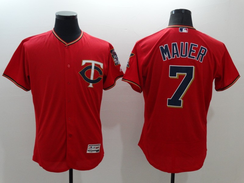 2016 MLB FLEXBASE Minnesota Twins 7 Mauer red jerseys