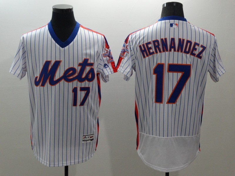 2016 MLB FLEXBASE New York Mets 17 Hernandez white throwback jerseys