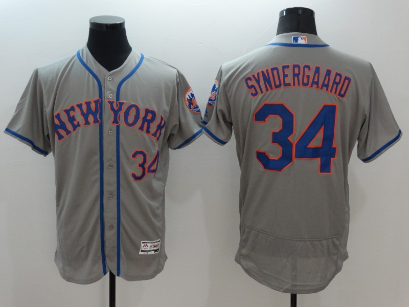 2016 MLB FLEXBASE New York Mets 34 Noah Syndergaard Grey Jersey