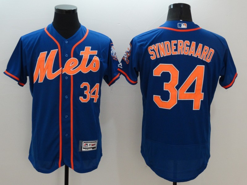 2016 MLB FLEXBASE New York Mets 34 Syndergaard Blue Jersey